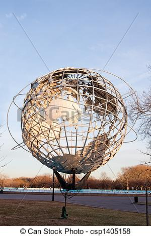 Pictures of Unisphere globe in Flushing Meadows Corona Park in.
