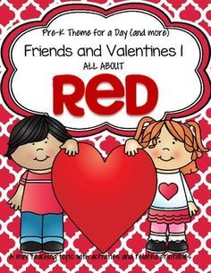 Color Red Valentines Centers, Activities and Printables.