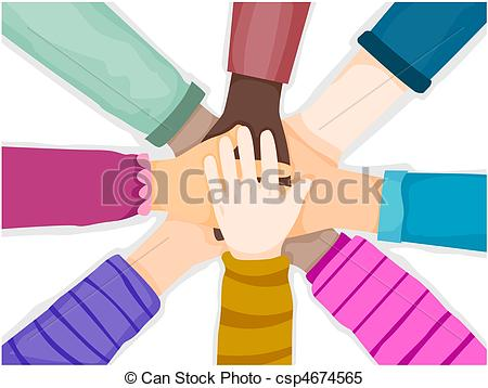 Stock Illustrations of Hands Unite.
