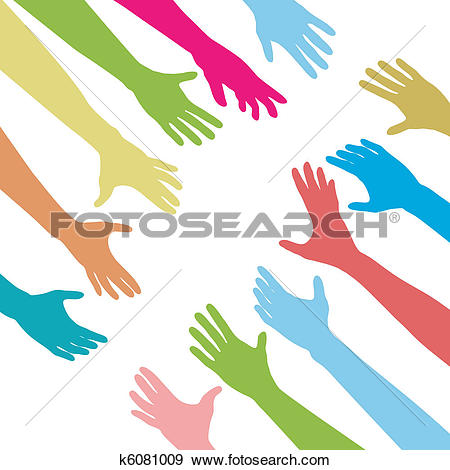 Clip Art of People hands reach out across unite connect k6081009.