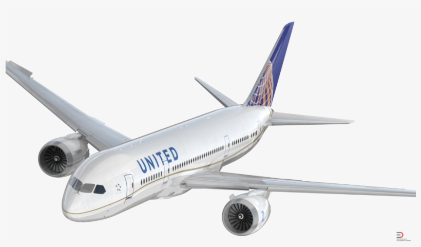 Boeing 787 3 United Airlines Rigged Royalty Free 3d.