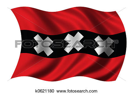 Stock Illustrations of Flag of Amsterdam k0621180.