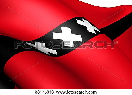 Drawing of Flag of Amsterdam k8175013.