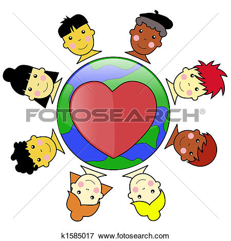 Clipart of Multicultural Kid Faces United Around Heart.