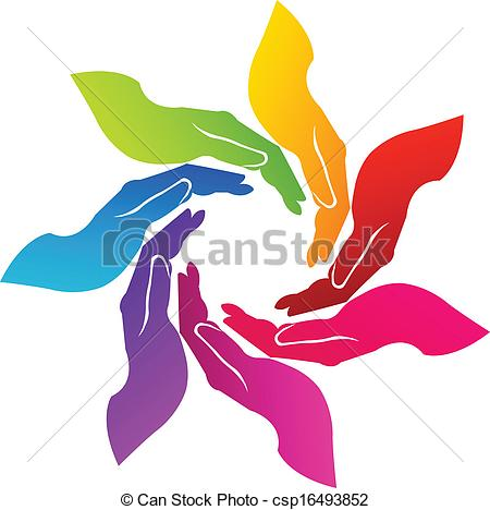Clipart Vector of Hands voluntary logo.