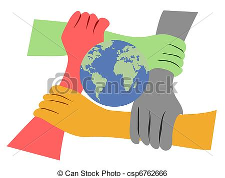 Hands united clipart.