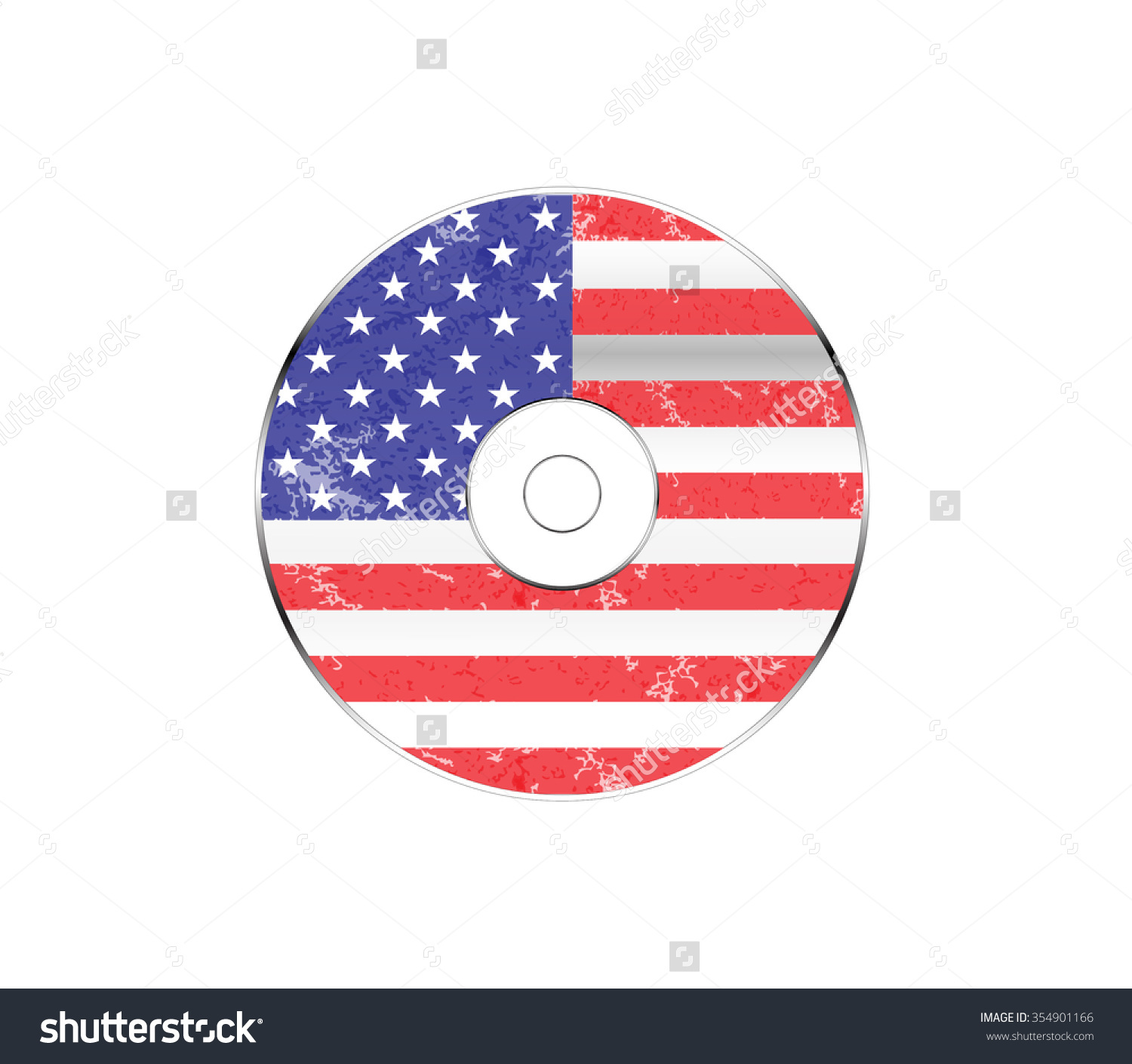 Compact Disc With United States Of America Flag, Vector.