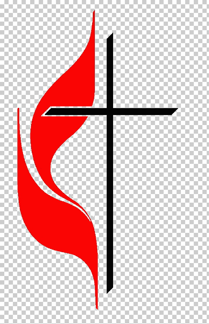 United Methodist Church Cross and flame Holy Spirit.