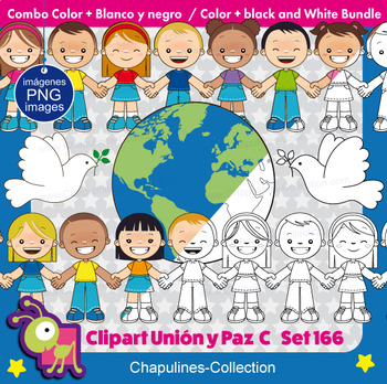 Union and Peace Clipart, Color & Black/White Bundle, United Nations day,  Set 166.