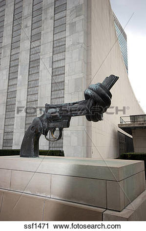 Stock Photography of Twisted handgun statue at United Nations.