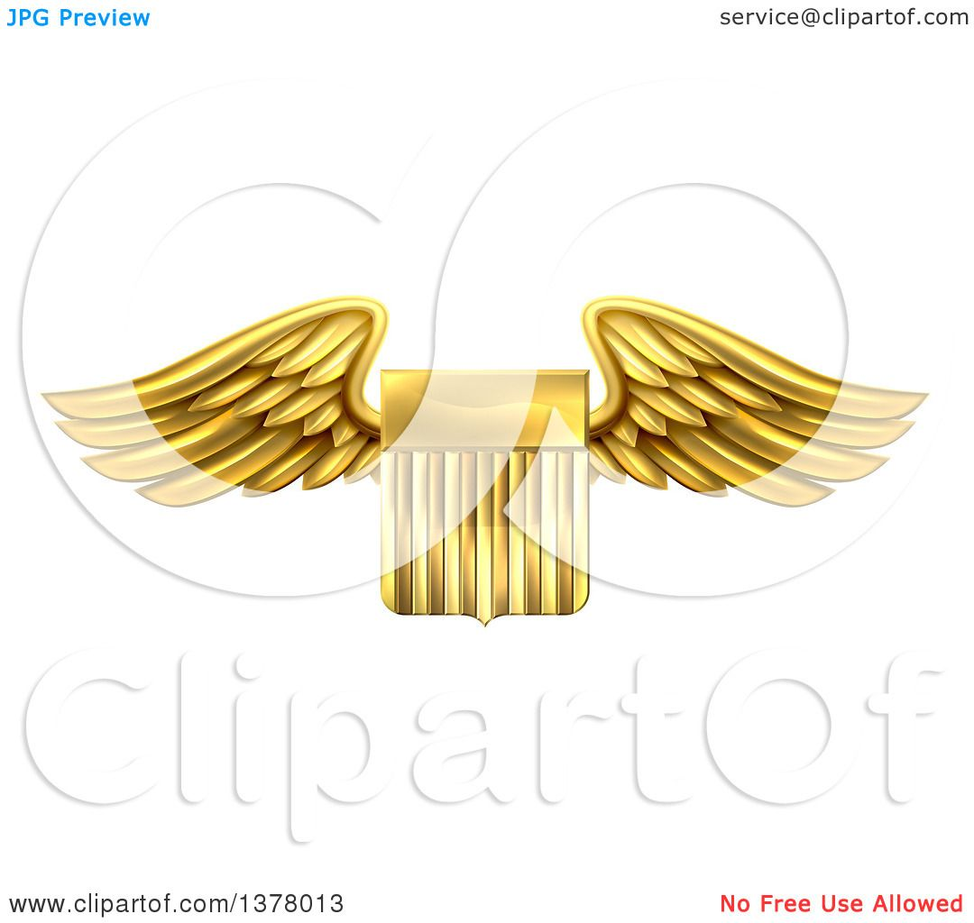 Clipart of a Shiny Winged Gold Metal United States Flag Shield.
