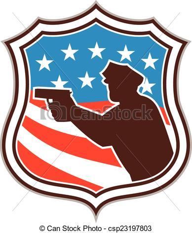 Vector Clipart of Policeman Silhouette Pointing Gun Flag Shield.