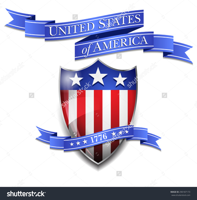 American Shield United States America Scroll Stock Vector.