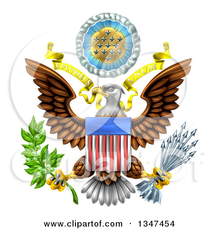 Clipart of a Silver Great Seal of the United States Bald Eagle.
