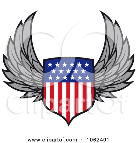 Clipart Winged American Shield.