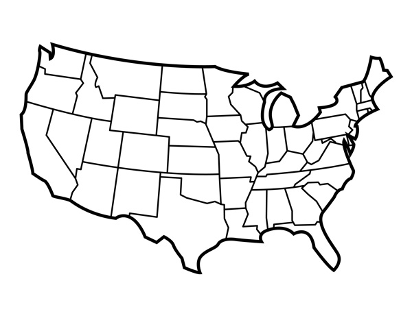 United States Of America Outline Clipart Black And White Kids.