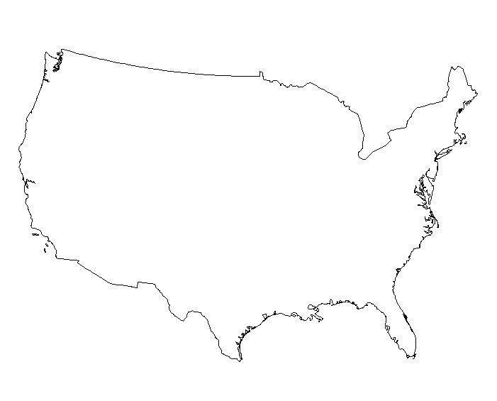 Black Us Map Globalinterco - Map of us clip art