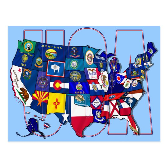 State Flags Map USA United States Flag Postcard.