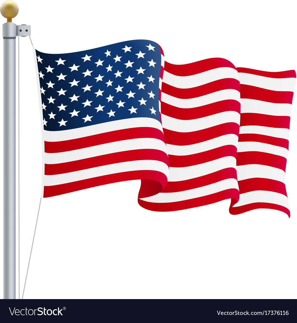 Waving united states of america flag uk flag.