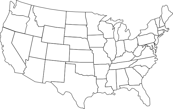 Free United States Map Black And White Outline, Download.