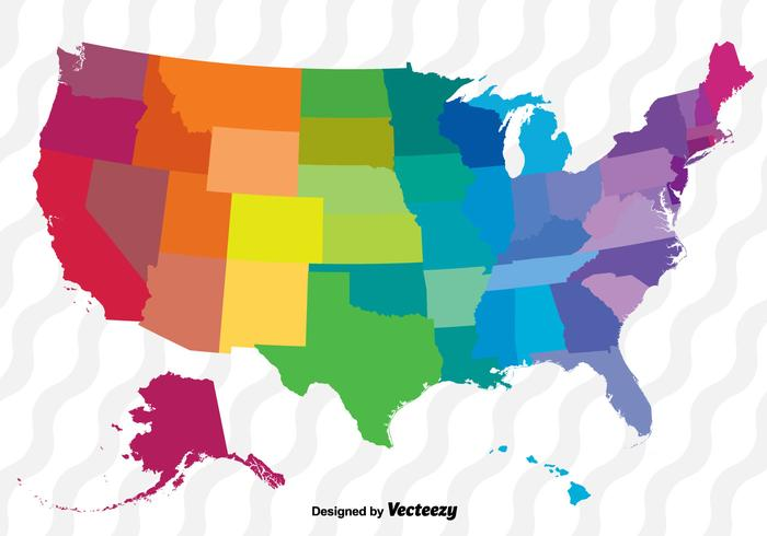 Colorful Vector Map Of The United States.