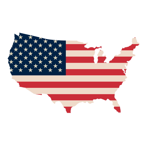 Flag of the United States Map.