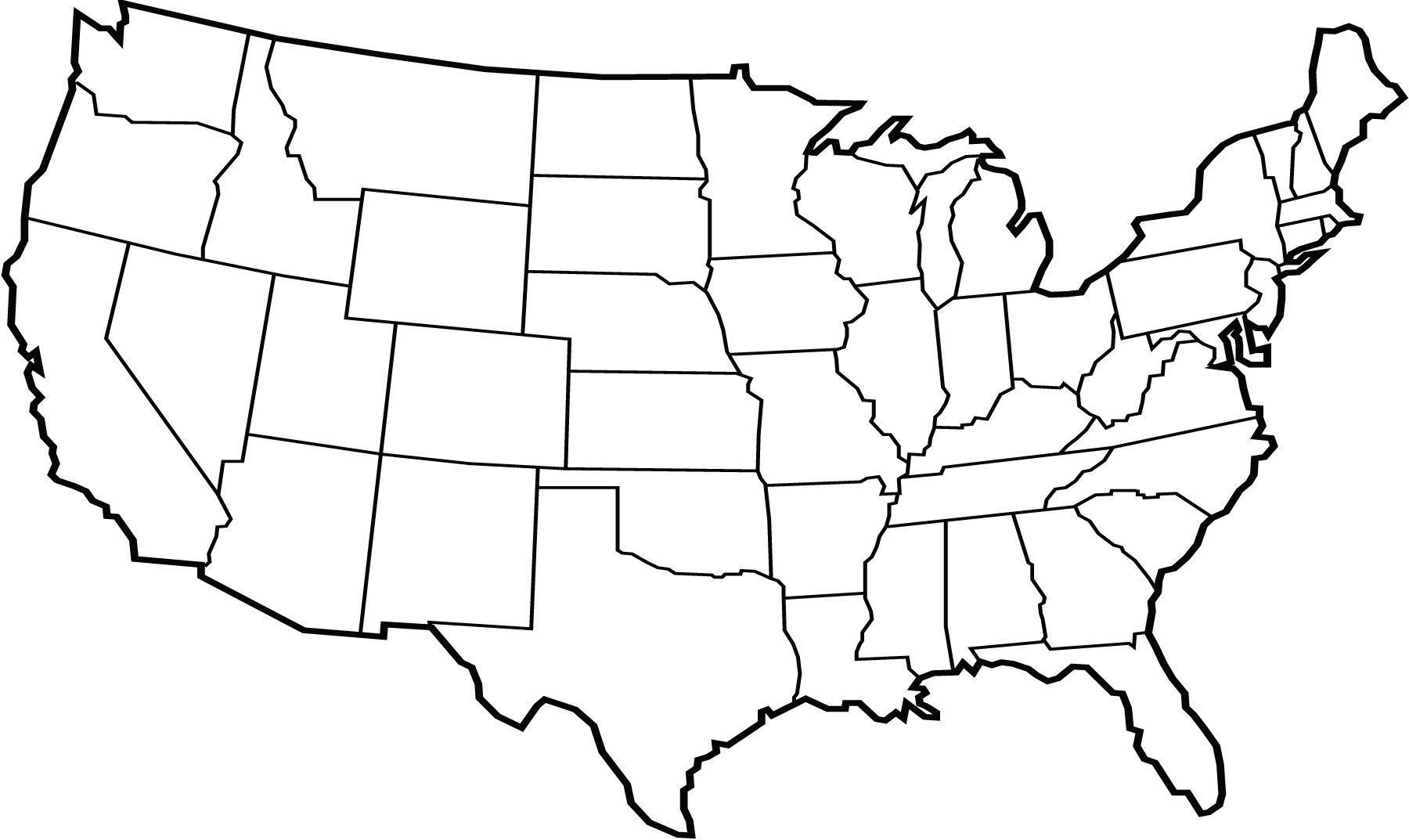 US Map : Usa Map Outline United States Vector Best Clipart.