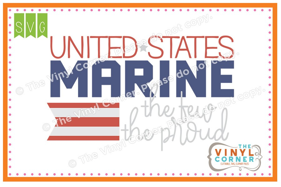 Applique Corner United States Marine Cuttable SVG Clipart Design.