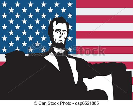 Clipart Vector of silhouette of Lincoln Memorial on United States.