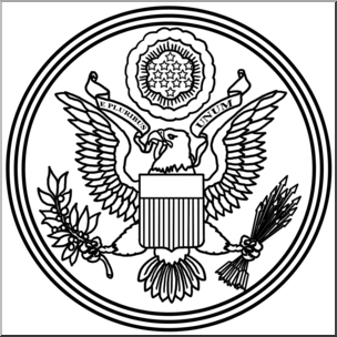 Clip Art: Great Seal of the United States B&W I abcteach.com.