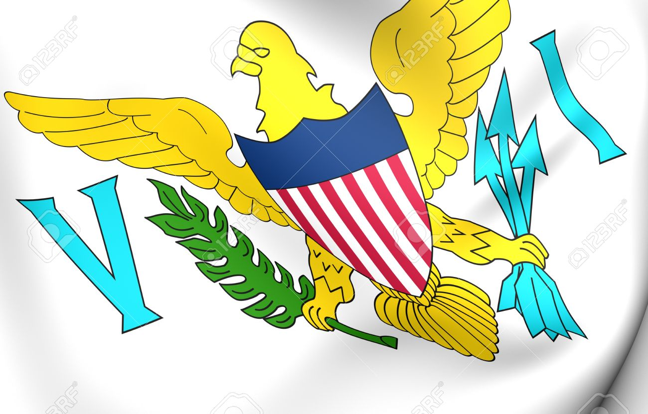 Virgin Islands Of The United States Flag. Close Up. Stock Photo.