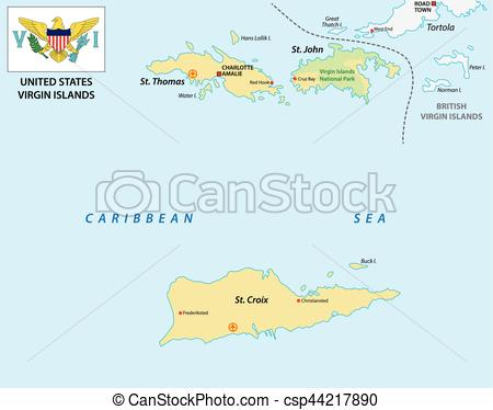 EPS Vectors of United States Virgin Islands map with flag.