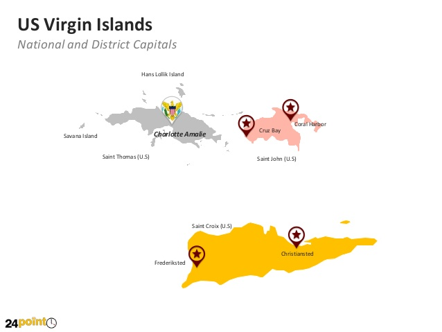 United States Virgin Islands Map: Editable PowerPoint Map.