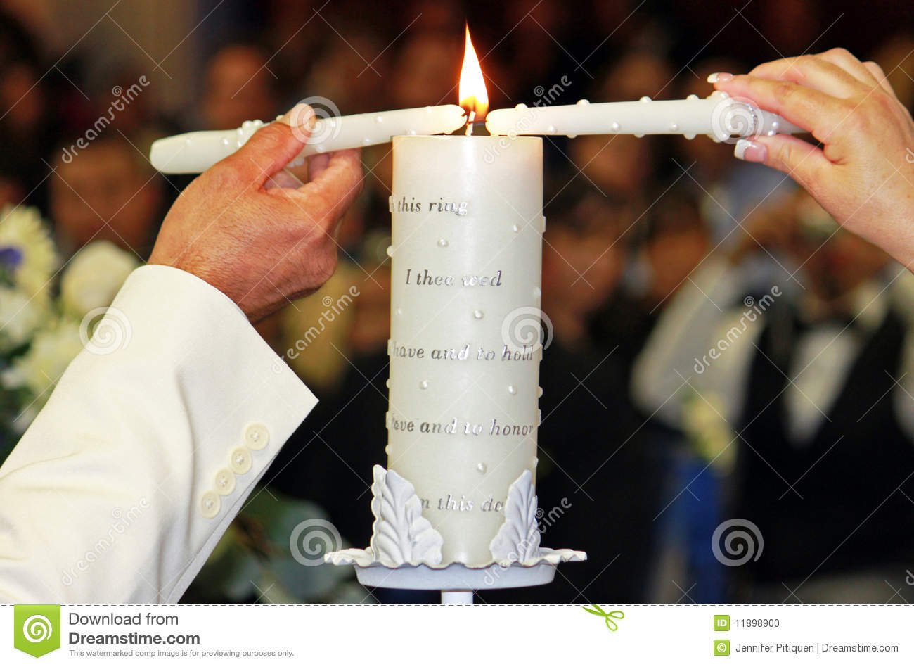 Unity Candle Ceremony Stock Photo.