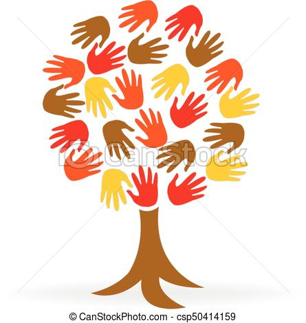 Tree hands unity people logo.
