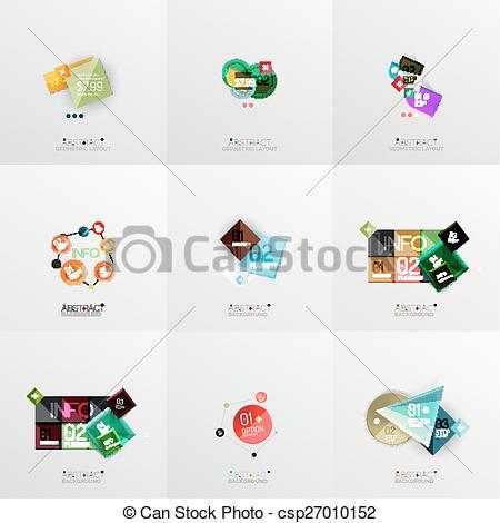 Clipart Vector of Set of paper graphic layouts. Universal.