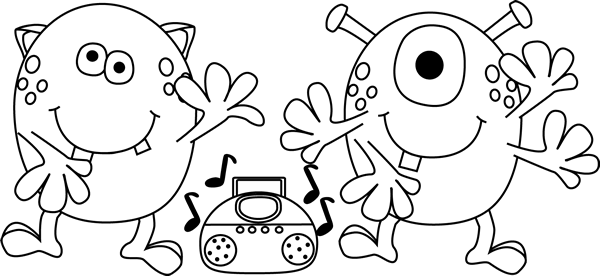 Great free Clip Arts e.g. Black and White Dancing Monsters.