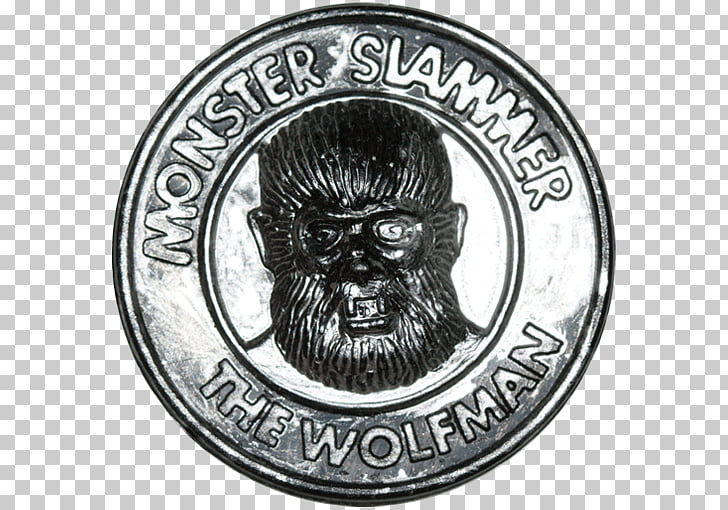 Coin Badge White Font, Universal Monsters PNG clipart.
