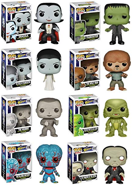 Complete Set of 8 Universal Monsters Pop! Figures: Dracula, Frankenstein &  His Bride, Wolfman, Mummy, Creature from the Black Lagoon, Phantom of the.