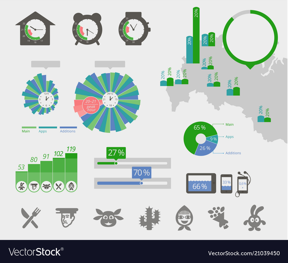 Universal infographics clock map circle diagrams.