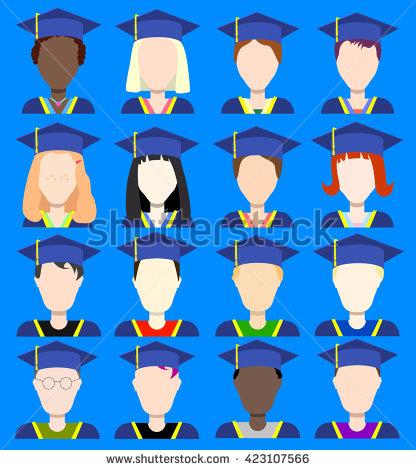 School Class Flat Style Avatar Set Stock Vector 423107317.