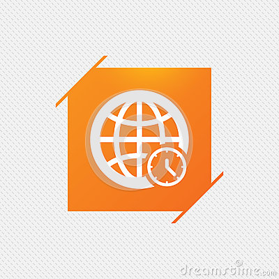 World Time Sign Icon. Universal Time Symbol. Stock Vector.