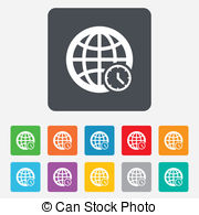 Vectors Illustration of World time sign icon. Universal time.