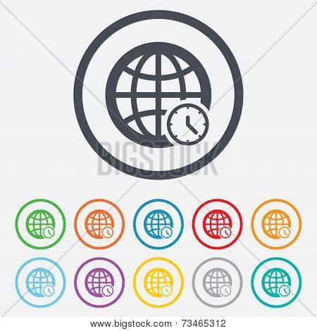 World time sign icon. Universal time symbol. Stock Vector & Stock.