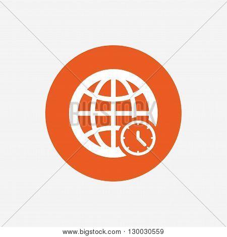 World time sign icon. Universal time globe symbol. Orange circle.