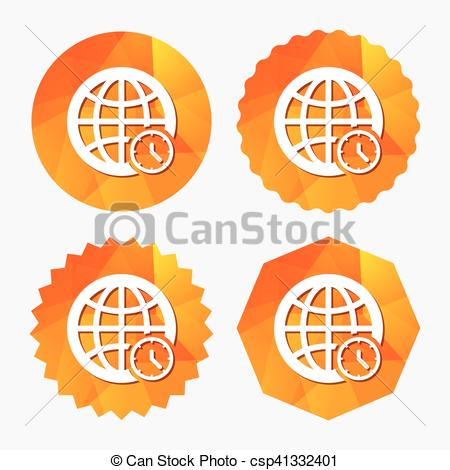 Vector Clipart of World time sign icon. Universal time symbol.