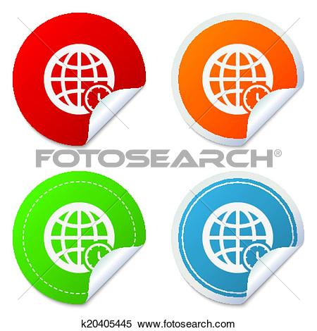 Clipart of World time sign icon. Universal time symbol. k20405445.
