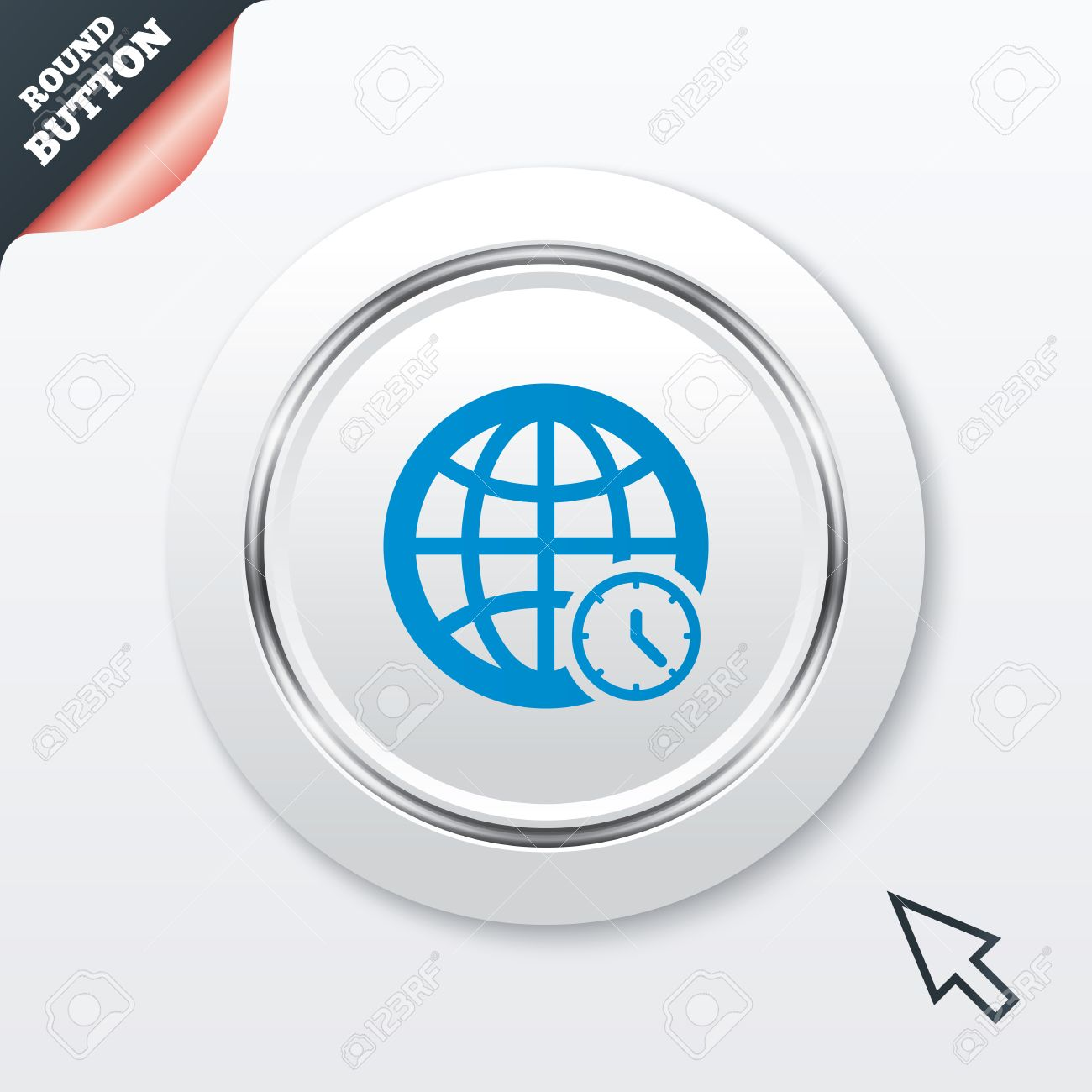 World Time Sign Icon. Universal Time Globe Symbol. Royalty Free.