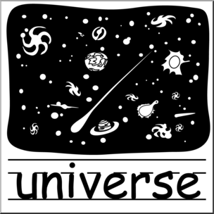 Clip Art: Basic Words: Universe B&W (poster) I abcteach.com.