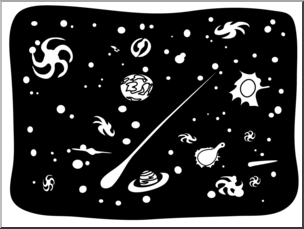 Clip Art: Basic Words: Universe B&W Unlabeled I abcteach.com.
